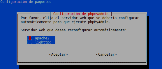 Instalación de phpMyAdmin, pantalla de Configuración del servidor web Apache