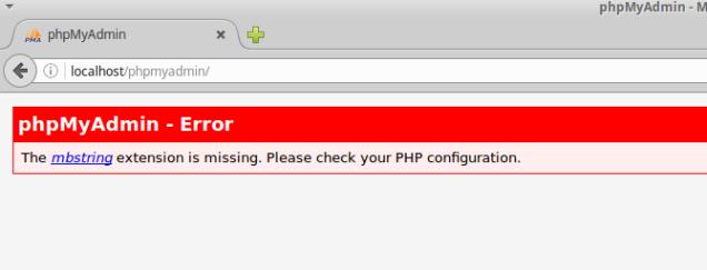 Mensaje de error de phpMyAdmin, falta el paquete mbstring (multibyte strings) de PHP