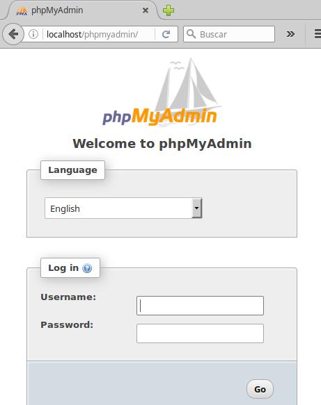 Consola de administración de phpMyAdmin