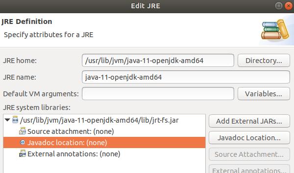 Configurando Javadoc en Eclipse 2018-09 y Ubuntu 18 04 con